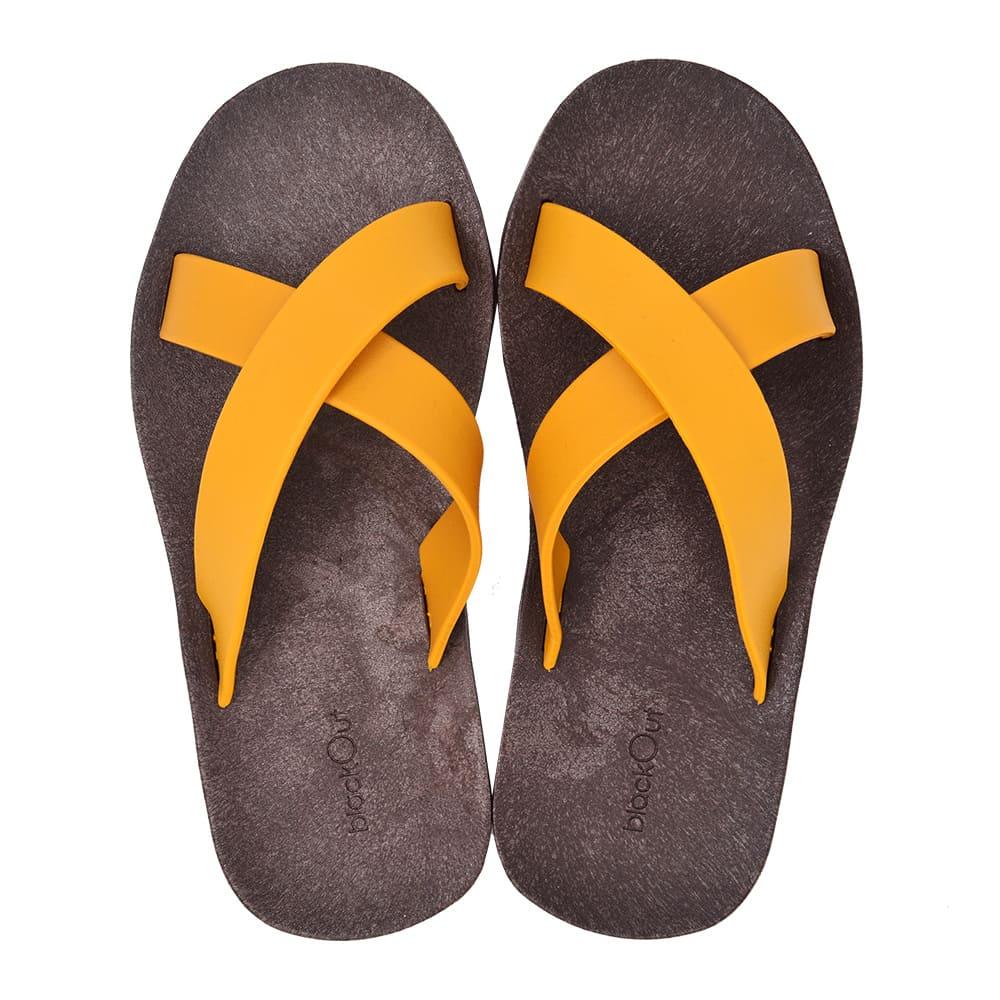 blackOut|訂製交叉拖鞋-巧克力底+芥黃鞋帶