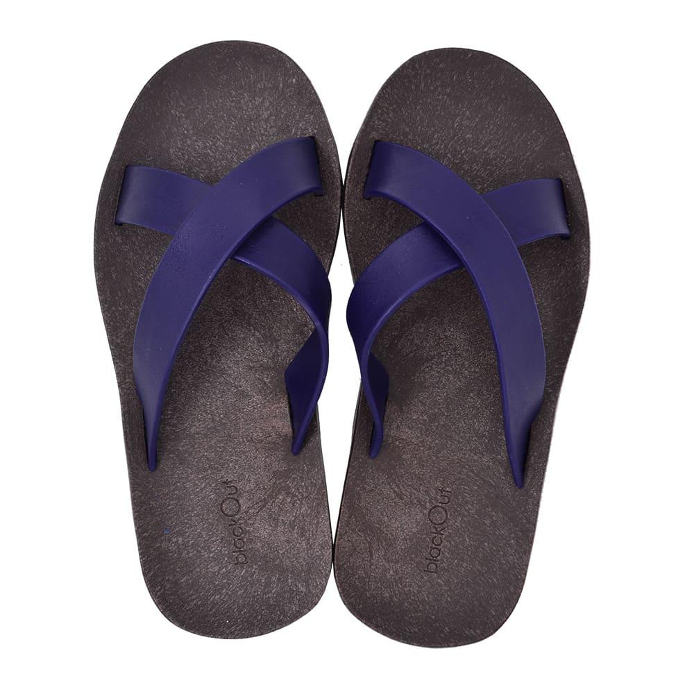 blackOut|訂製交叉拖鞋-巧克力底+深藍鞋帶