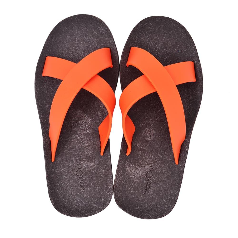 blackOut|訂製交叉拖鞋-巧克力底+橘鞋帶