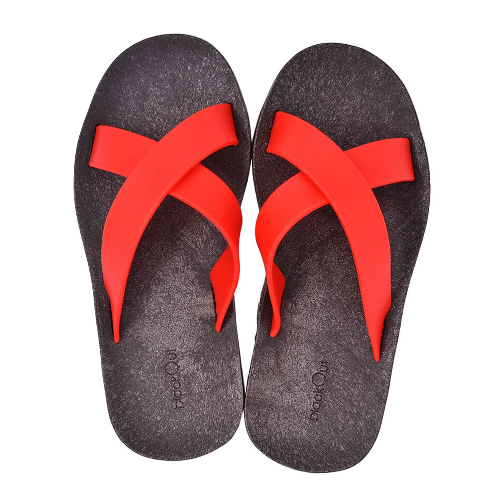 blackOut|訂製交叉拖鞋-巧克力底+紅鞋帶