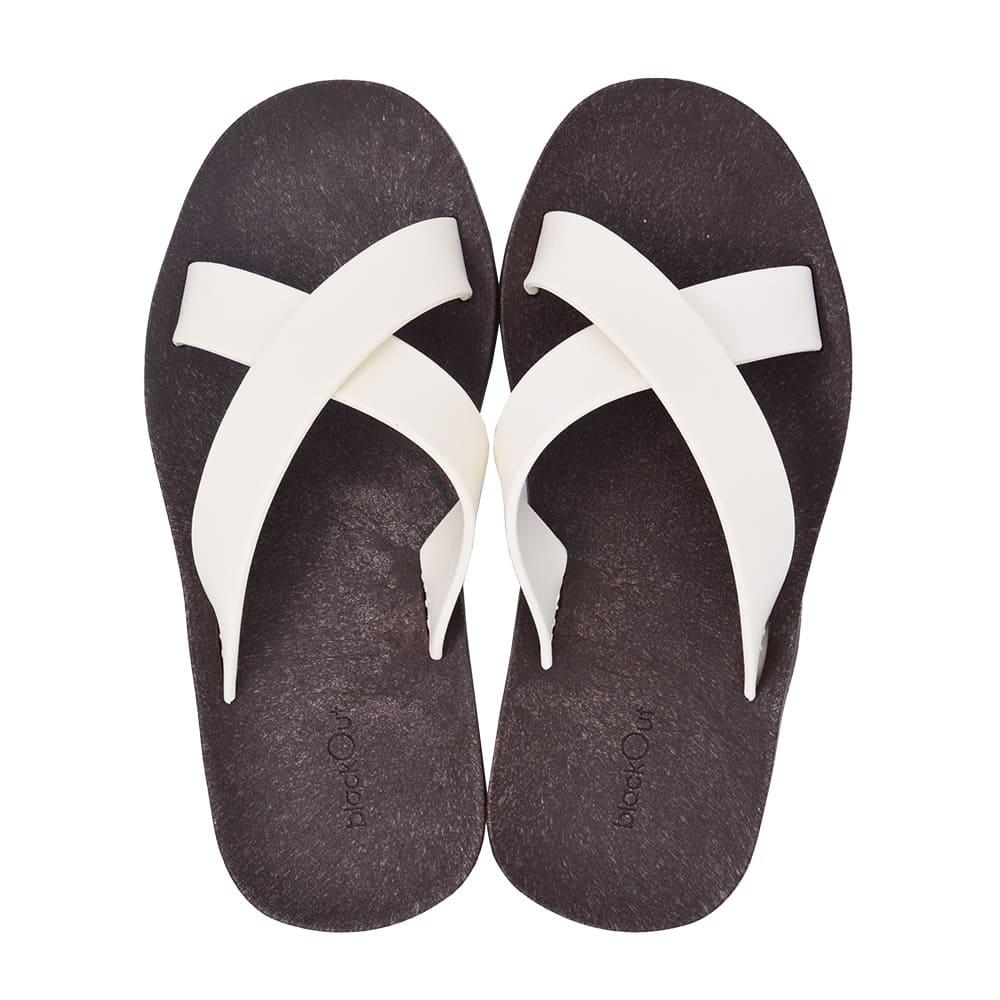 blackOut 訂製交叉拖鞋-巧克力底+白鞋帶
