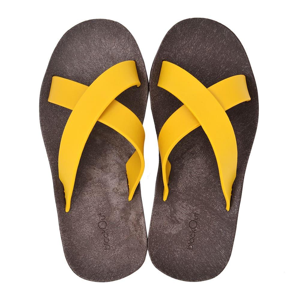 blackOut 訂製交叉拖鞋-巧克力底+鴨黃鞋帶