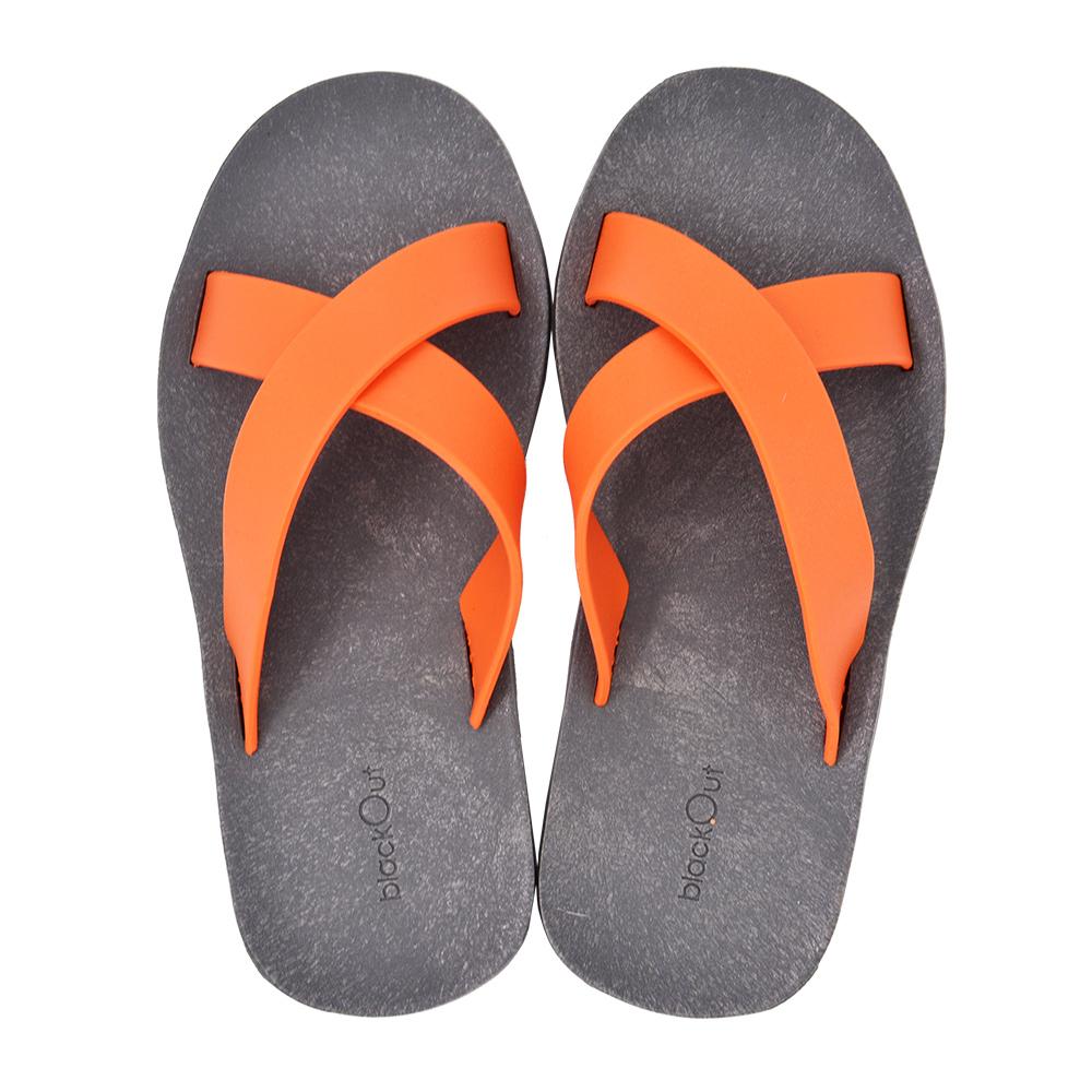 blackOut 訂製交叉拖鞋-灰底+橘鞋帶