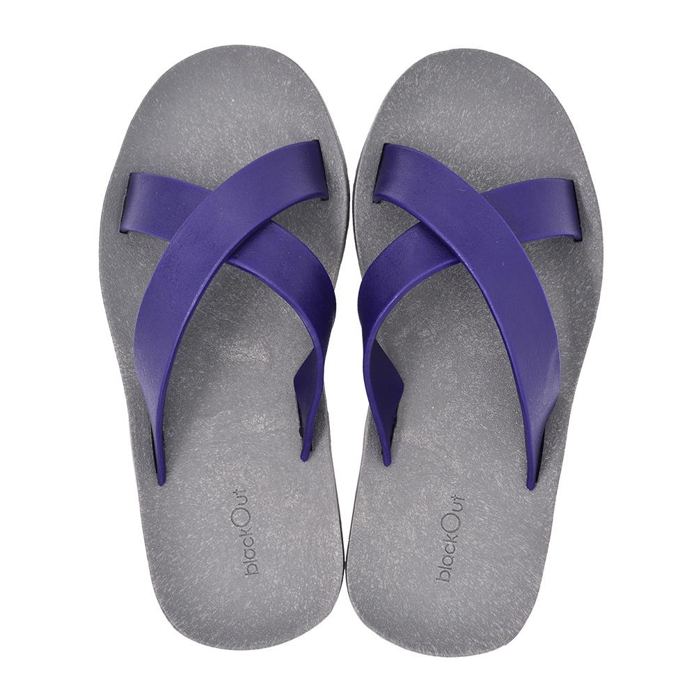 blackOut|訂製交叉拖鞋-灰底+深藍鞋帶