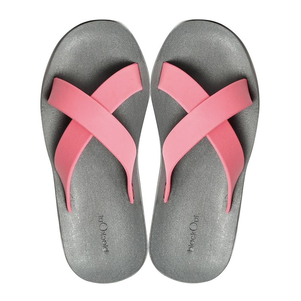 blackOut 訂製交叉拖鞋-灰底+淺粉鞋帶