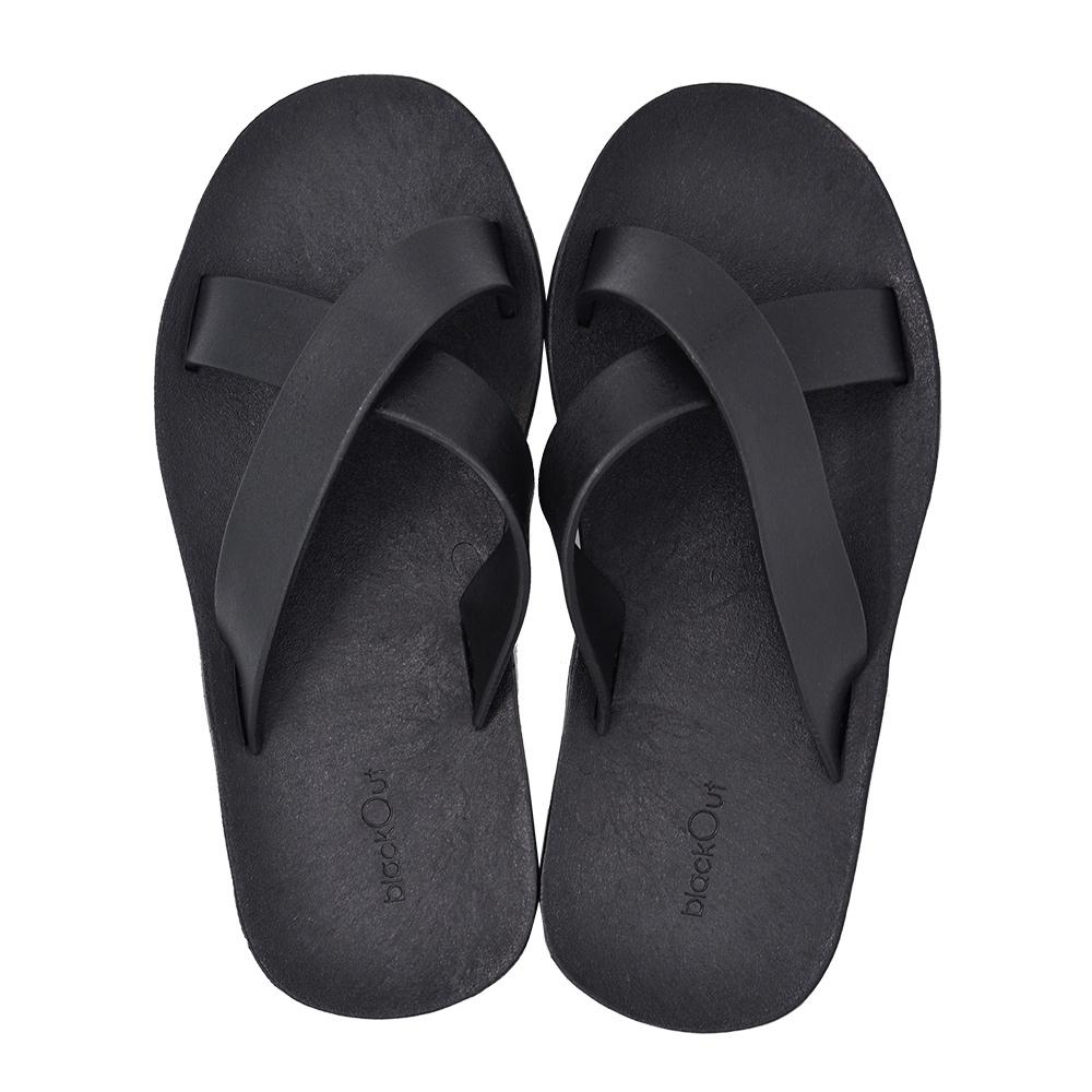 blackOut|訂製交叉拖鞋-黑底+黑鞋帶