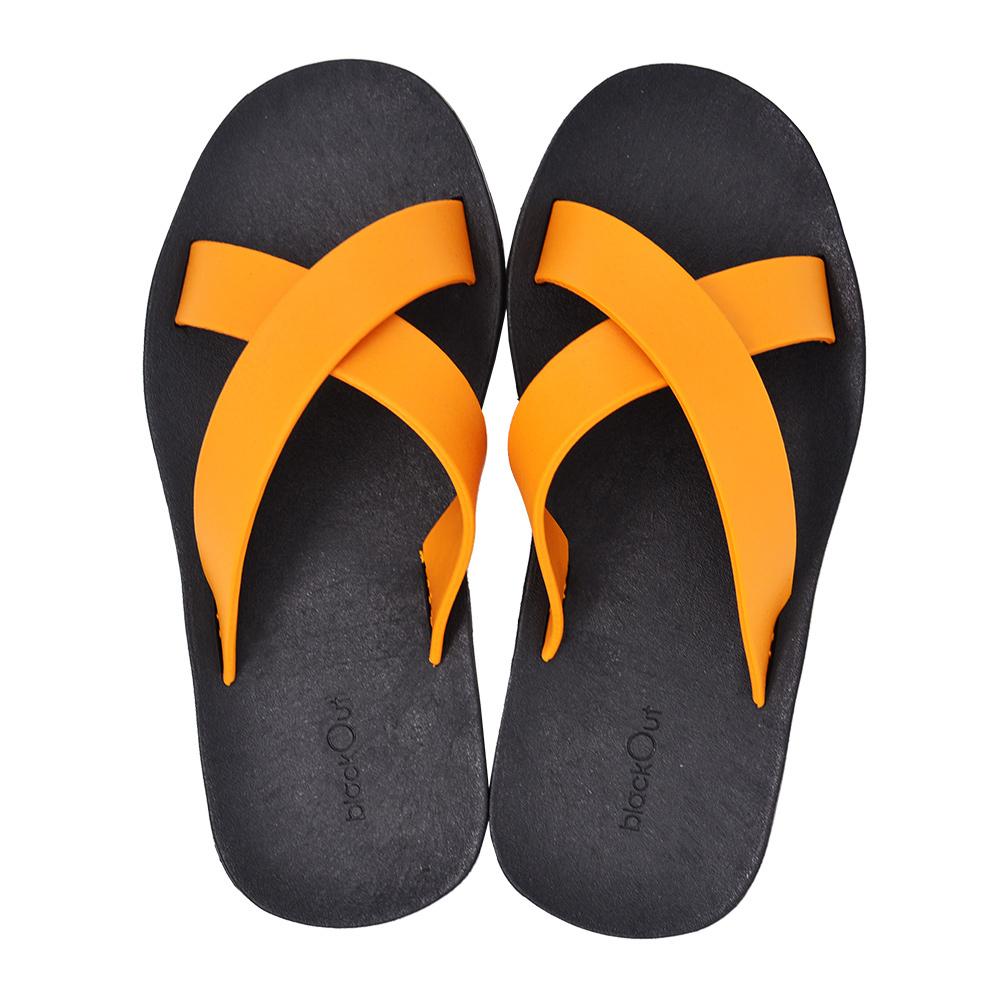 blackOut 訂製交叉拖鞋-黑底+芥黃鞋帶