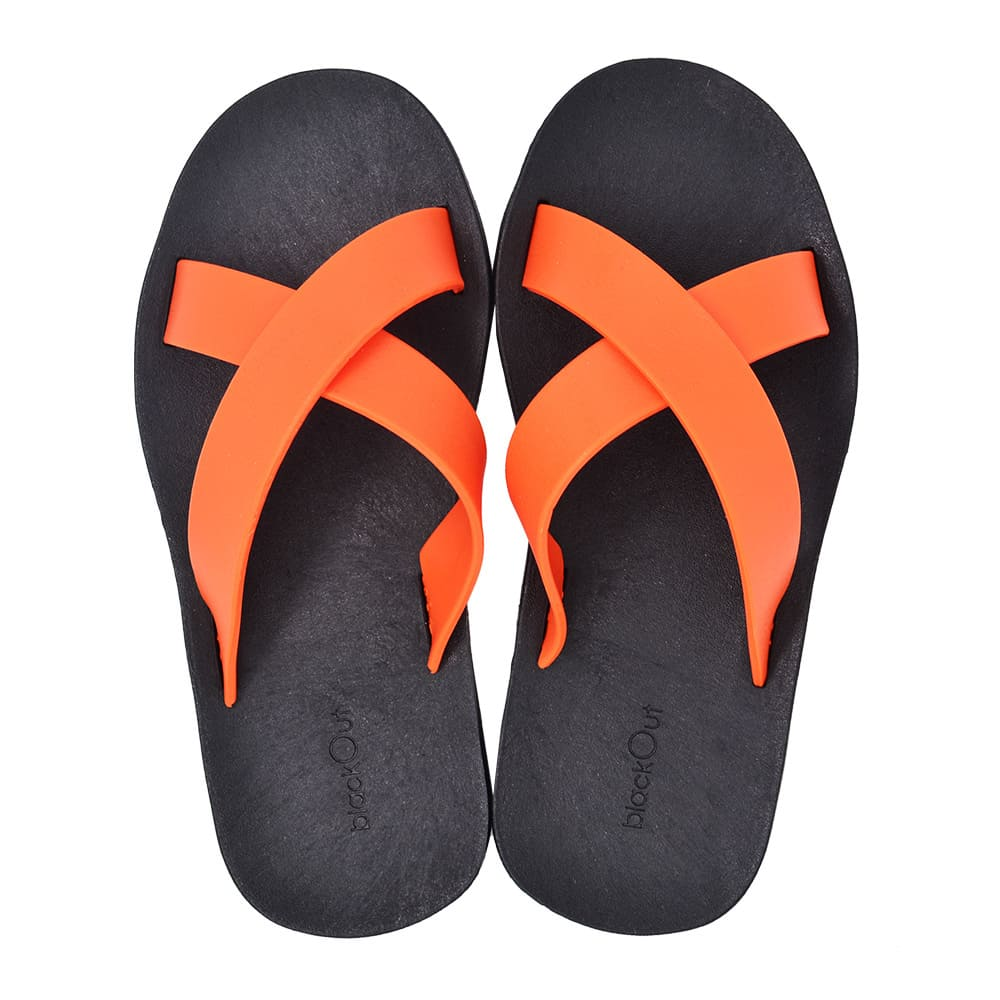 blackOut|訂製交叉拖鞋-黑底+橘鞋帶