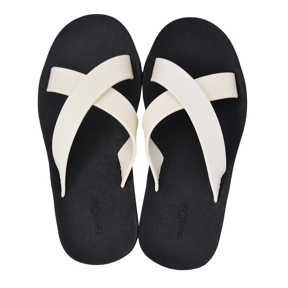 blackOut|訂製交叉拖鞋-黑底+白鞋帶