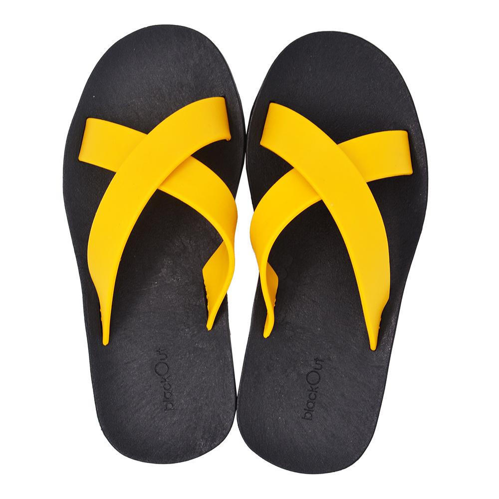 blackOut|訂製交叉拖鞋-黑底+鴨黃鞋帶