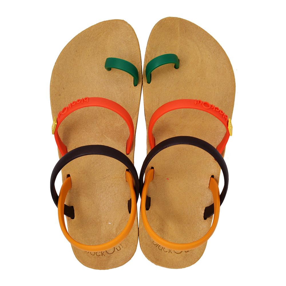 blackOut 訂製趾環涼鞋-限定彩色款-卡其底+彩色鞋帶