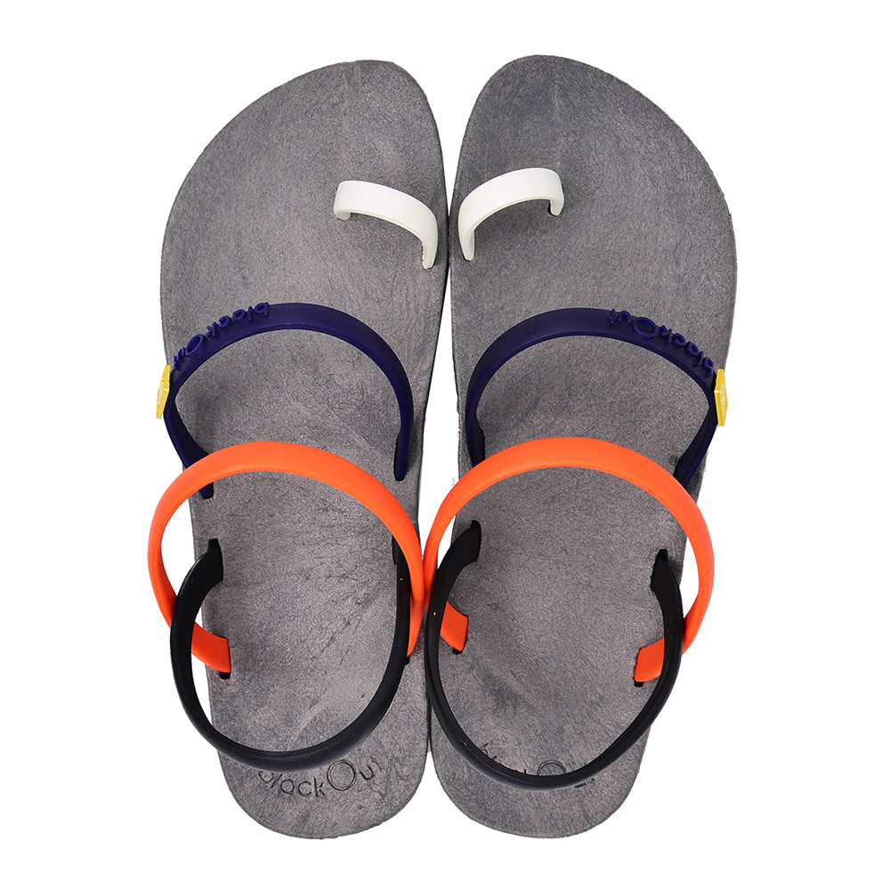 blackOut|訂製趾環涼鞋-限定彩色款-灰底+彩色鞋帶