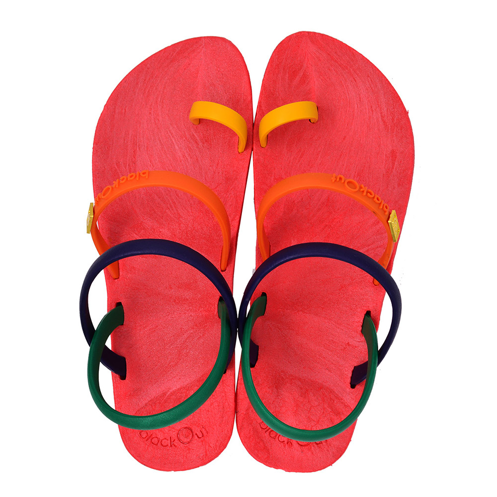 blackOut|訂製趾環涼鞋-限定彩色款-紅底+彩色鞋帶