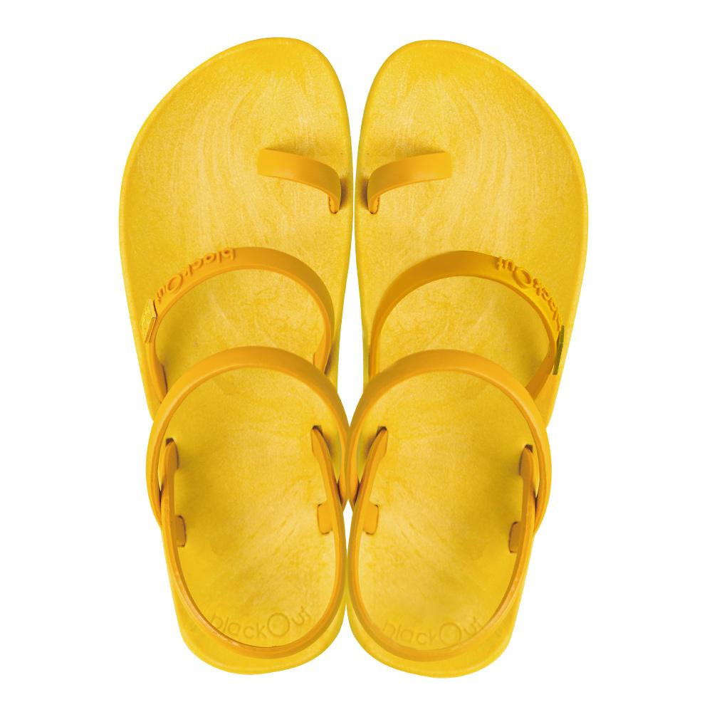blackOut 訂製趾環涼鞋-素色款-黃底+芥黃鞋帶