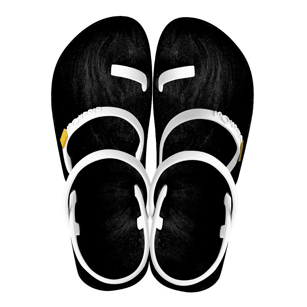 blackOut|訂製趾環涼鞋-素色款-黑底+白鞋帶