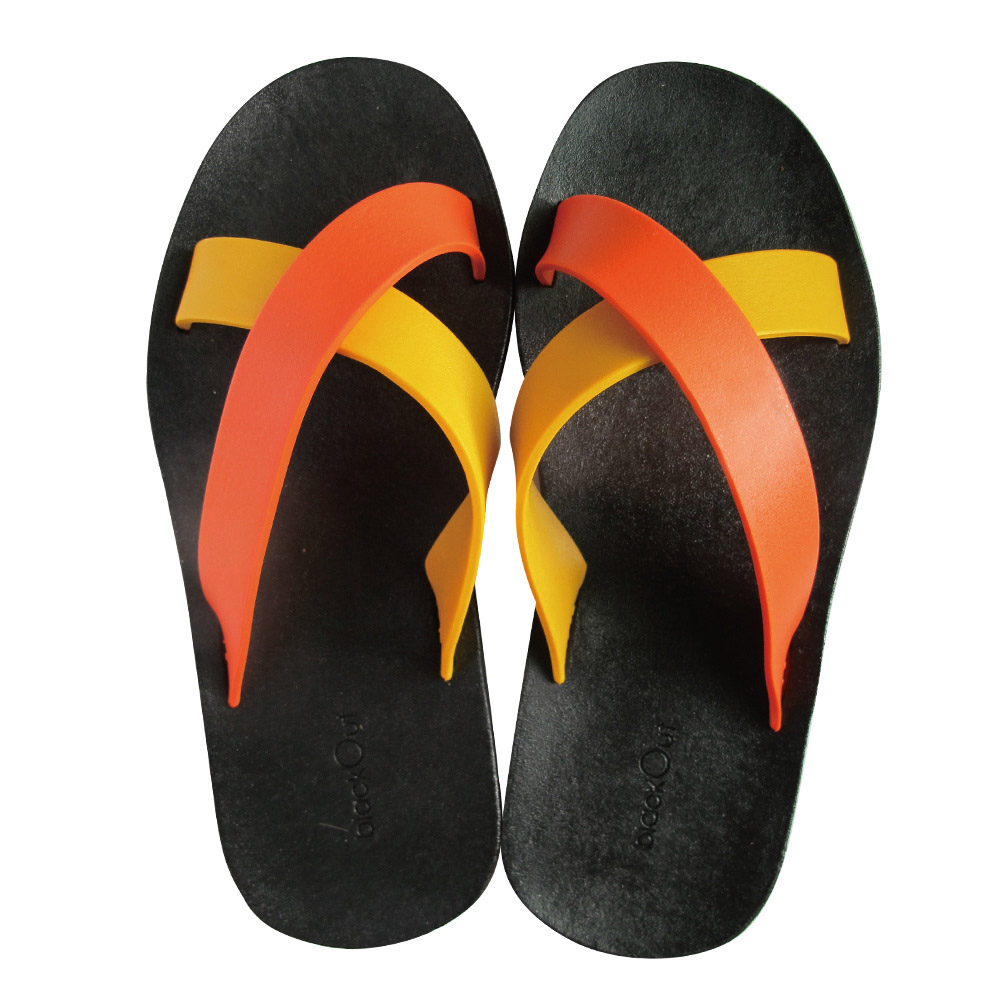 blackOut 訂製交叉拖鞋-限定彩色款-黑底+鴨黃橘鞋帶