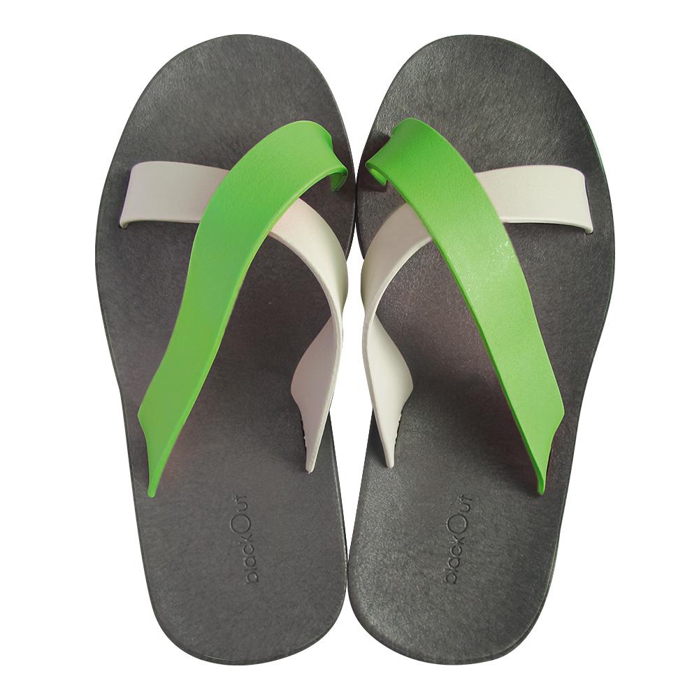 blackOut|訂製交叉拖鞋-限定彩色款-灰底+白淺綠鞋帶