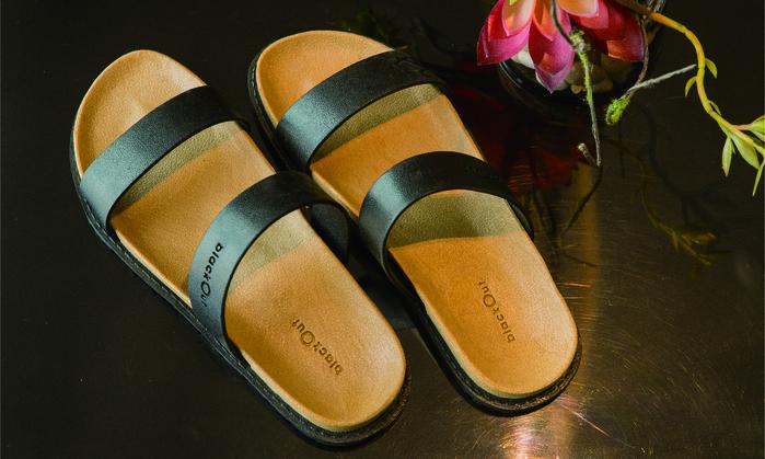 (複製)blackOut|訂製寬帶拖鞋-卡其底+巧克力鞋帶