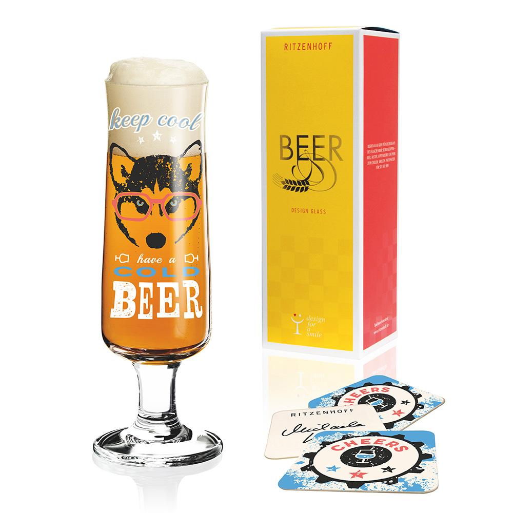德國 RITZENHOFF 新式啤酒杯/ BEER 酷酷眼鏡狗