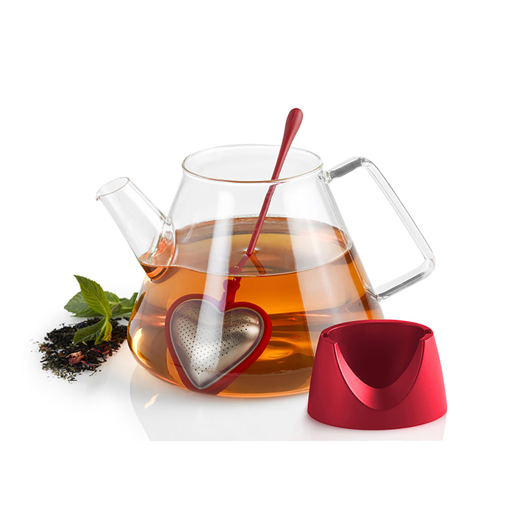 德國 AdHoc|愛心造型濾茶棒 (含座) / 愛心紅