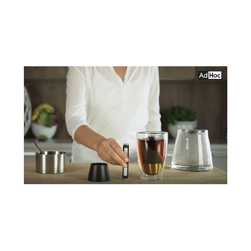 德國 AdHoc|計時漂浮濾茶器(含座) / 經典黑