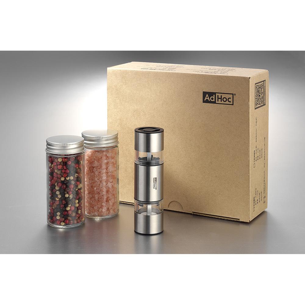 德國 AdHoc|迷你 2in1雙邊陶刀研磨罐禮盒組(含胡椒粒及玫瑰鹽)