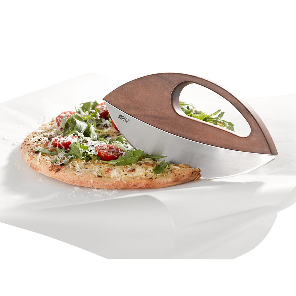 德國 AdHoc|實木不銹鋼半圓香料披薩刀(含座)