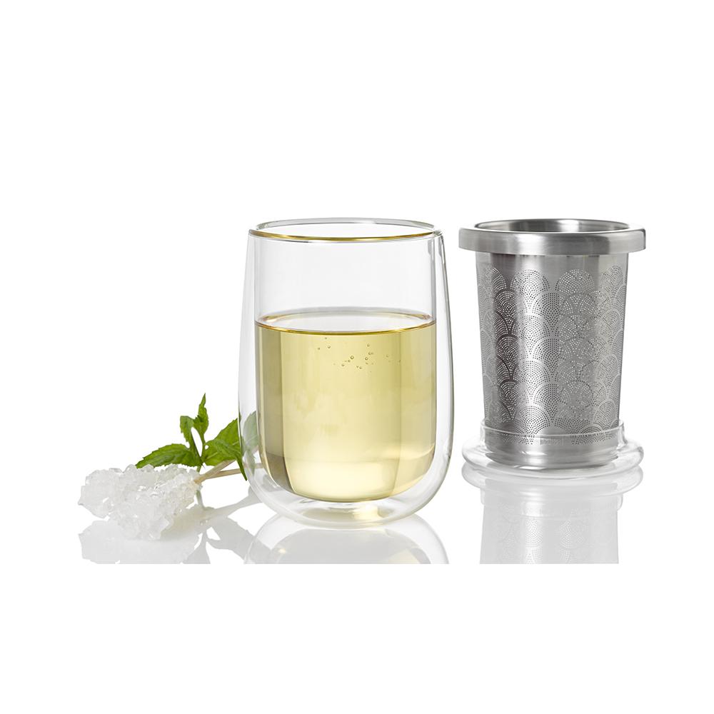 德國 AdHoc|雙層玻璃杯(附不銹鋼濾茶器)