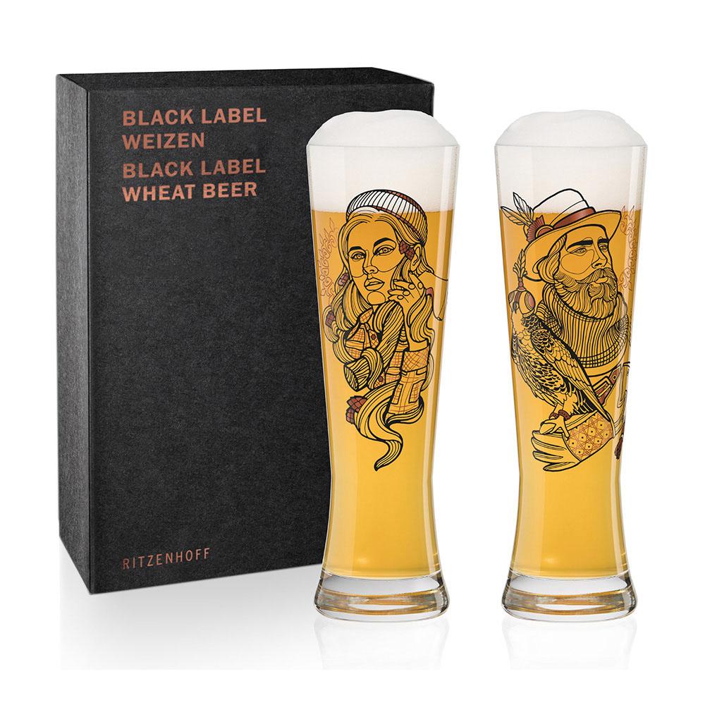 德國 RITZENHOFF|黑標小麥啤酒對杯 / BLACK LABEL WEIZEN 划木工與馴鷹者