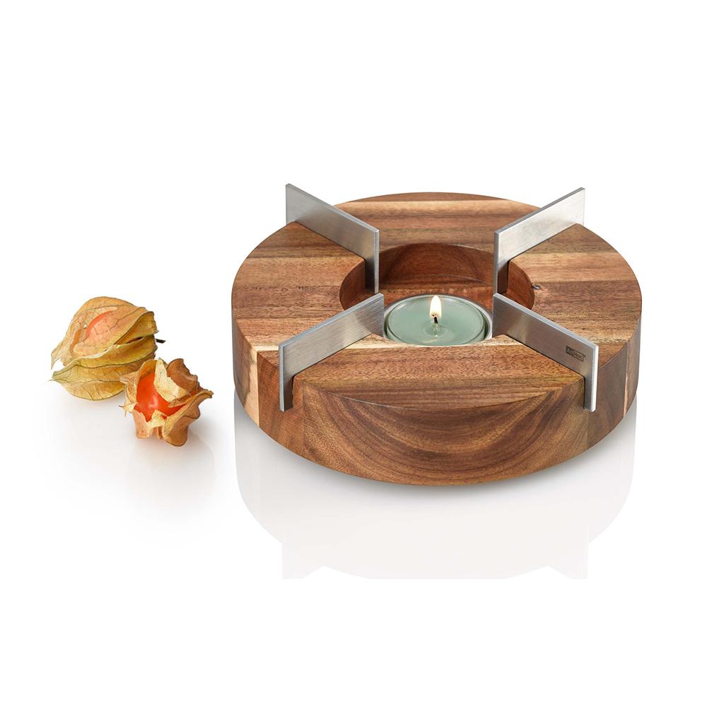 德國 AdHoc|造型實木蠟燭台保溫底座