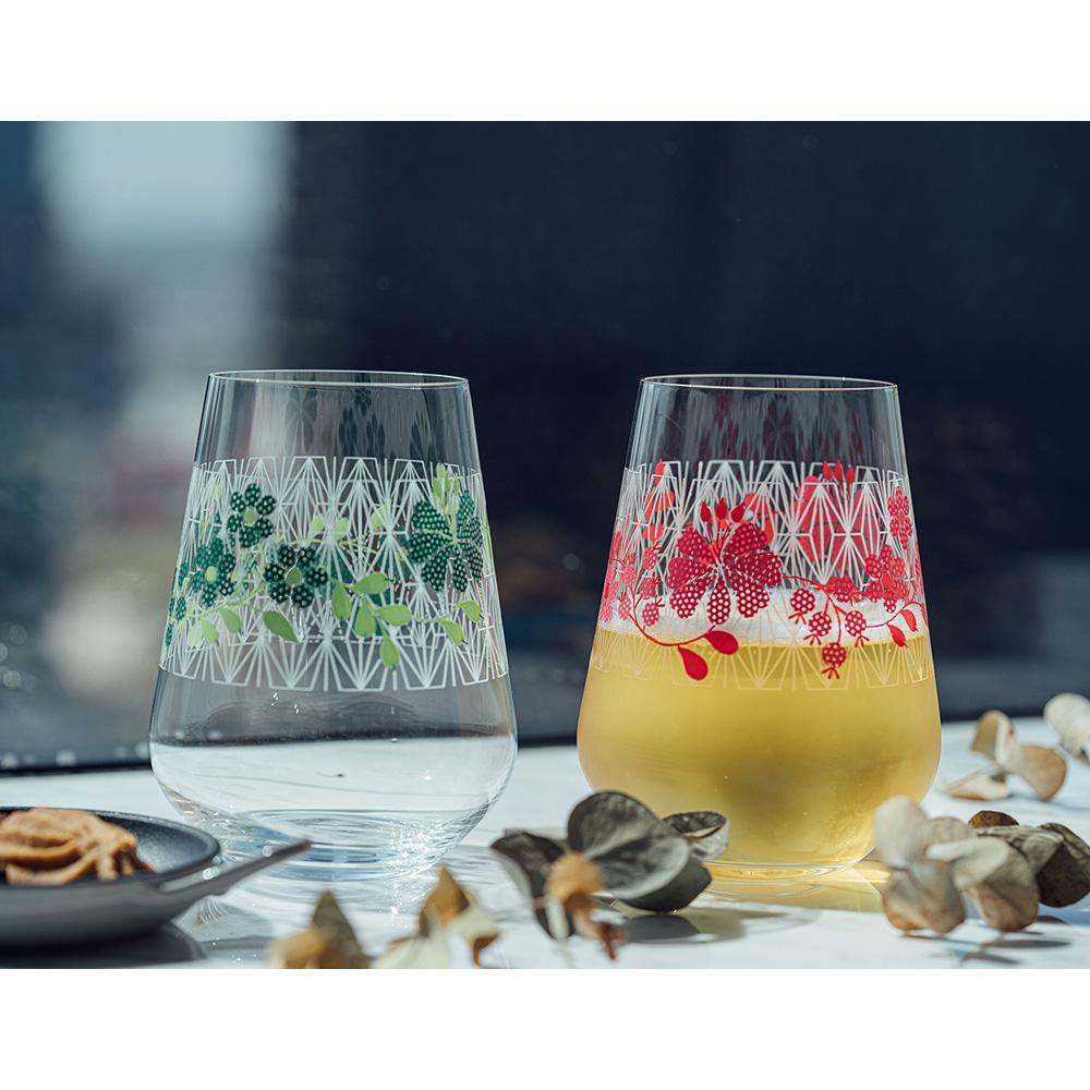 德國 RITZENHOFF|水酒杯組(二入) / 紅花繽紛 & 綠花絢麗
