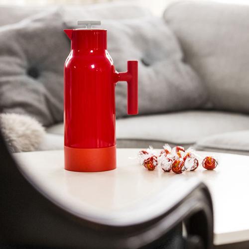 Sagaform|Accent 玻璃內膽保溫瓶1Liter-白(附二色蓋)