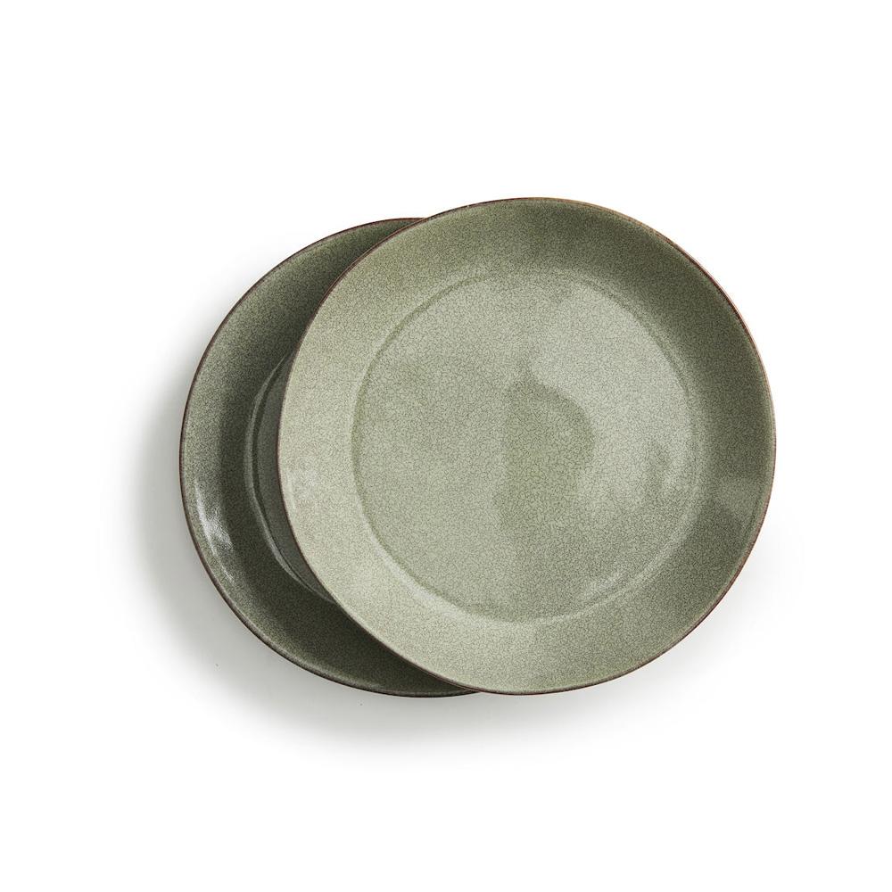 Sagaform Nature 瓷釉彩餐盤組Ø22cm2入(亞麻綠)