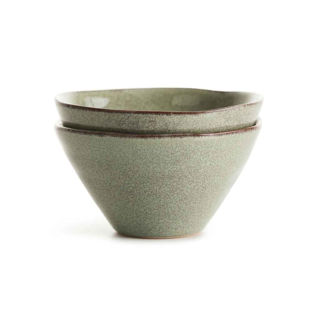 Sagaform|Nature 瓷釉彩餐碗組2入(亞麻綠)