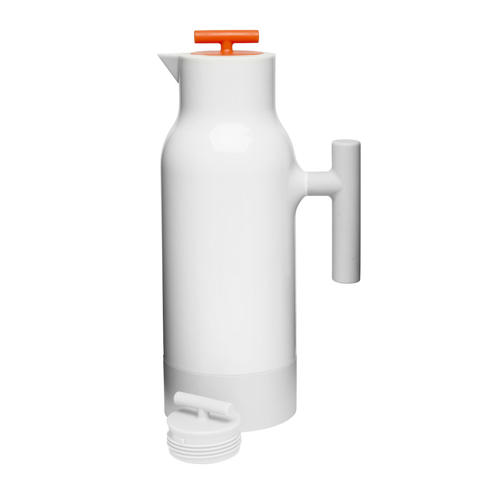 Sagaform Accent 玻璃內膽保溫瓶1Liter-白(附二色蓋)