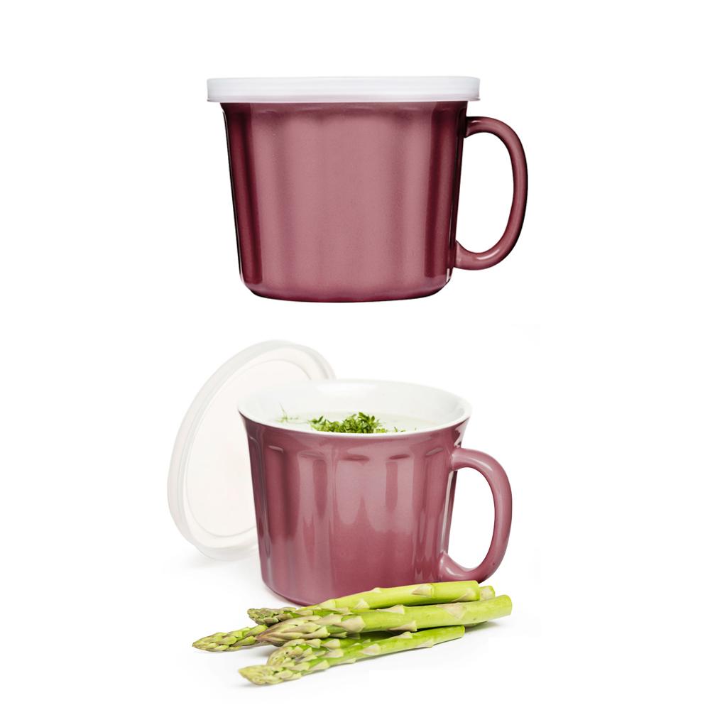 Sagaform|湯麵杯組2入附蓋-粉紅