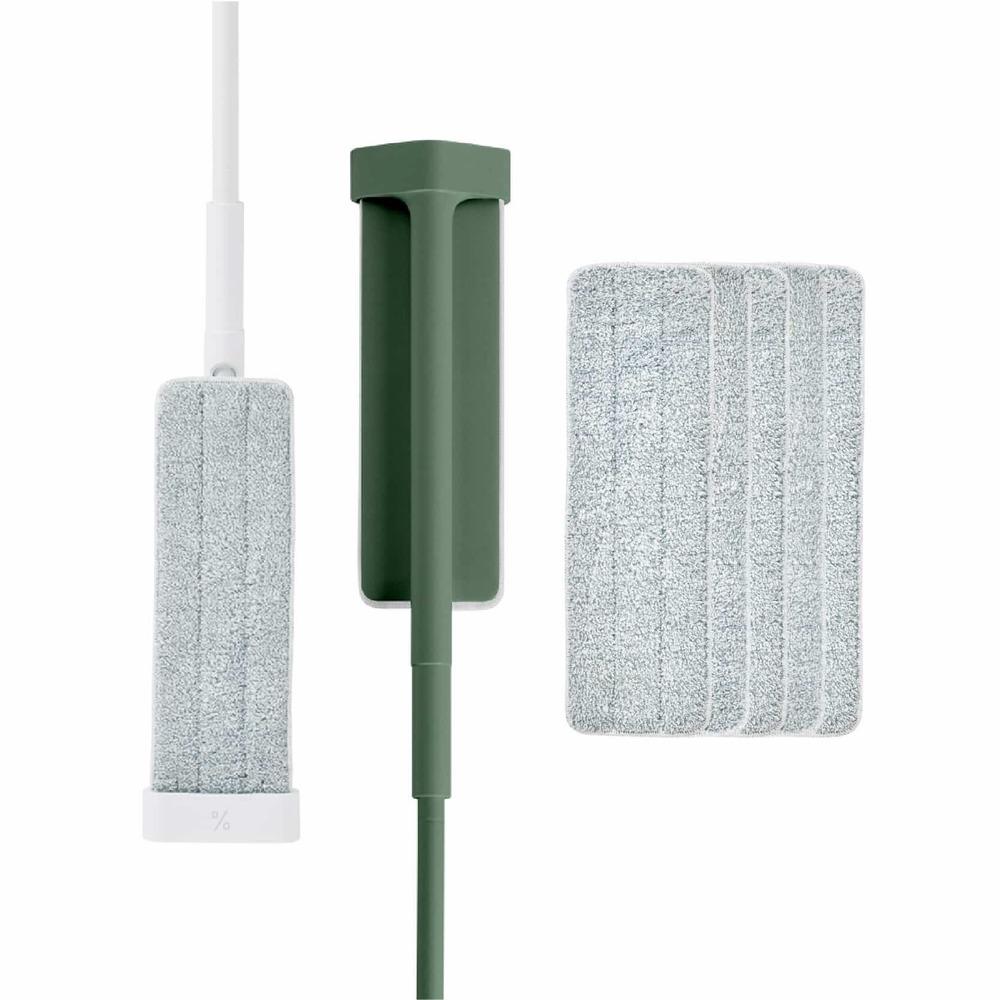 百潔 PERCENT|QUICK MOP 平板拖把2入(白&綠)+替換拖布10入