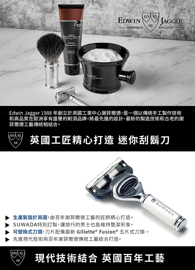SUWADA|EDWIN JAGGER 跨界合作 日本職人指甲剪+英國製刮鬍刀 禮盒組 銀色