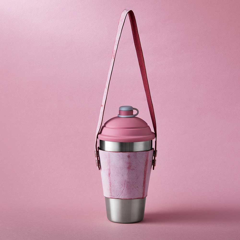 YCCT|義大利刷蠟皮杯套提袋 - 石榴粉