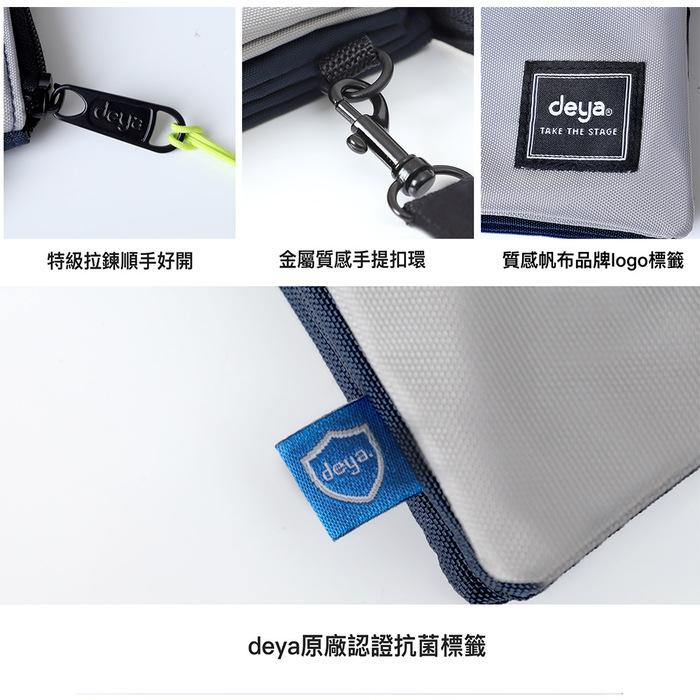 deya  Multi-way 收納控抗菌多層手拿/斜背兩用包-银灰藍