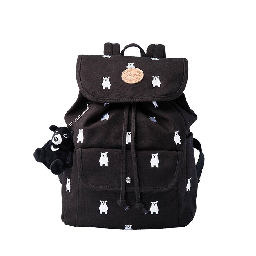 deya|熊森林系刺繡帆布束口後背包-四種可選(台灣製)