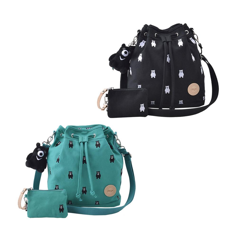 deya|熊森林系刺繡帆布水桶包-兩色可選(台灣製)