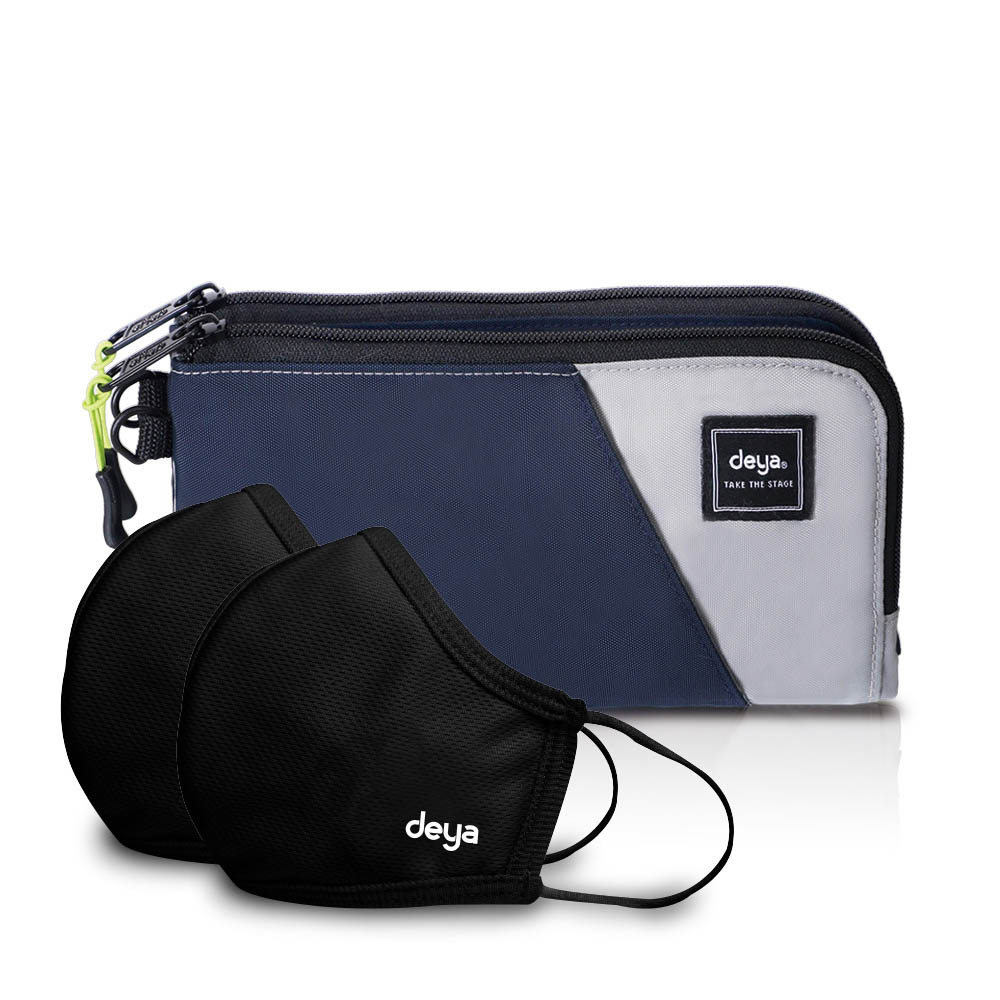 deya Multi-way 收納控抗菌萬用分享包-銀灰藍 +3D強效防護抗菌布口罩-曜石黑x2
