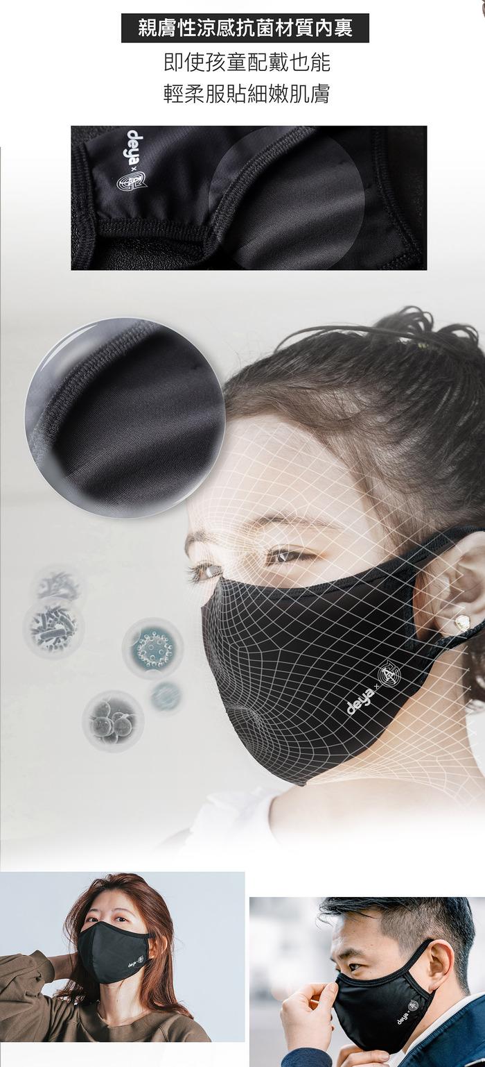 deya|Multi-way 收納控抗菌萬用包-銀灰藍 +3D立體涼感抗菌布口罩-迷彩x2