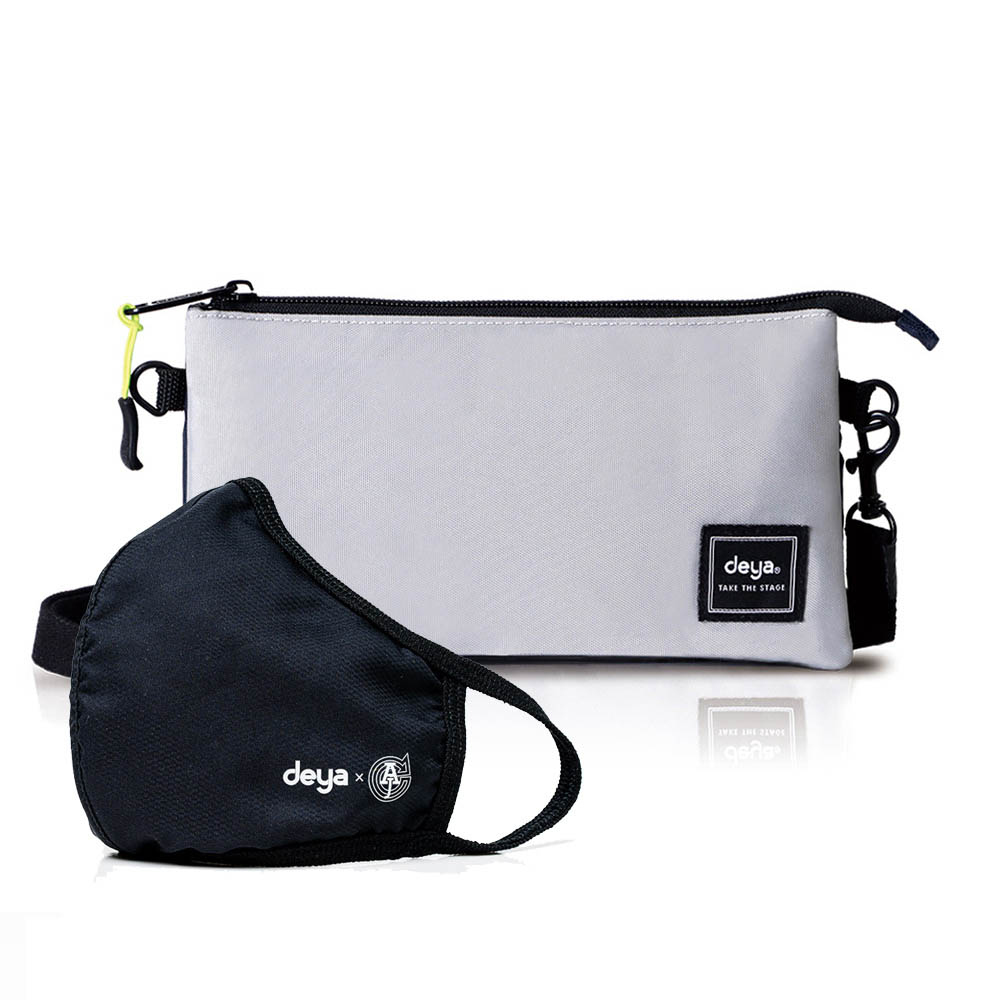 deya|Multi-way 收納控抗菌多層手拿/斜背兩用包+3D立體涼感抗菌布口罩x1