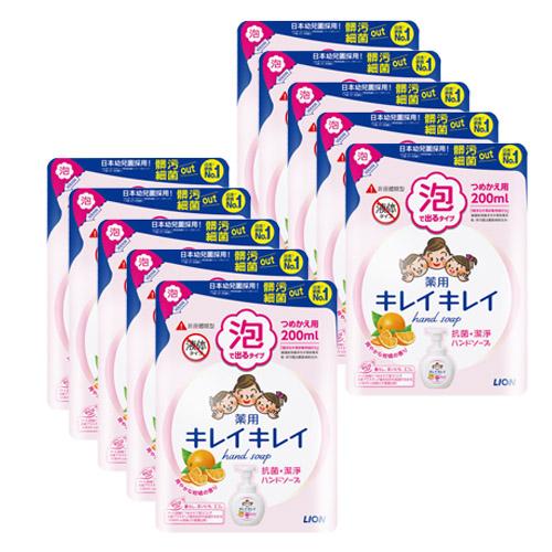 日本獅王 趣淨洗手慕斯補充包-清爽柑橘200ml×10