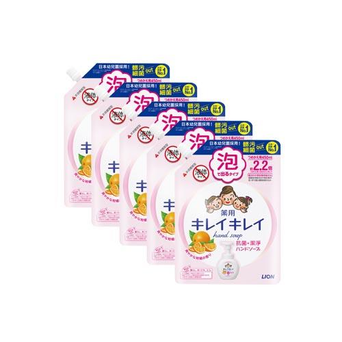 日本獅王|趣淨洗手慕斯補充包-清爽柑橘450ml×5