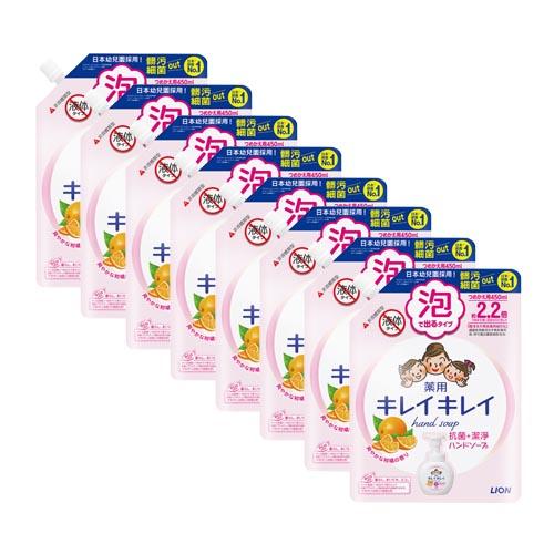 日本獅王 趣淨洗手慕斯補充包-清爽柑橘450m×8