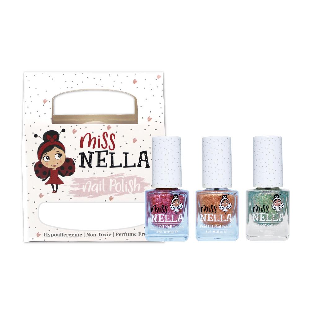 Miss NELLA|妮娜小姐 兒童水性可撕式安全指甲油-聖誕派對3入組