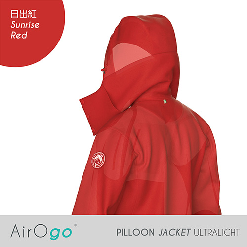 AirOgo Ultralight Pilloon 多用途內附頸枕旅行外套 (女款) - 日出紅